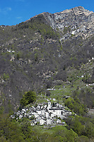 Switzerland. Canton Ticino. Corippo lies in the Verzasca valley. Monte del Corgell is the mountain's name above the village. Corippo is the smallest municipality in Switzerland. Despite this, it possesses the trappings of communities many times its size such as its own coat of arms and a town council consisting of three local citizens. A town council is a democratically elected form of government for small municipalities. A council may serve as both the representative and executive branch. The village has maintained its status as an independent entity since its incorporation in 1822. 8.05.13 © 2013 Didier Ruef?.