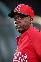 Los Angeles Angels first base coach Alfredo Griffin #4 before a game against the Kansas City Royals at Angel Stadium on May 14, 2013 in Anaheim, California. (Larry Goren/Four Seam Images)