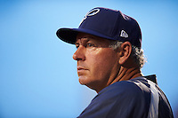 Pensacola Blue Wahoos pitching coach Jeff Fassero (13) in the dugout during a game against the Mississippi Braves on May 28, 2015 at Trustmark Park in Pearl, Mississippi.  Mississippi  defeated Pensacola 4-2.  (Mike Janes/Four Seam Images)