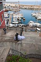 Europe/France/Corse/2B/Haute-Corse/Cap Corse/Nebbio/Bastia: Le port -  Escalier Romieu à double révolution qui conduit du  jardin Romieu au vieux port