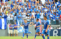 Rodolfo Zelaya (11) of El Salvador celebrates with teammates after taking a penalty kick. The USMNT defeated El Salvador 5-1 at the quaterfinal game of the Concacaf Gold Cup, M&T Stadium, Sunday July 21 , 2013.