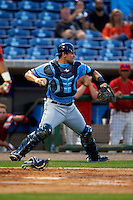 Charlotte Stone Crabs catcher Nick Ciuffo (14) looks to throw down to third during a game against the Clearwater Threshers on April 12, 2016 at Bright House Field in Clearwater, Florida.  Charlotte defeated Clearwater 2-1.  (Mike Janes/Four Seam Images)