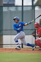 Toronto Blue Jays catcher Yorman Rodriguez (50) hits a single during an Instructional League game against the Philadelphia Phillies on September 30, 2017 at the Carpenter Complex in Clearwater, Florida.  (Mike Janes/Four Seam Images)