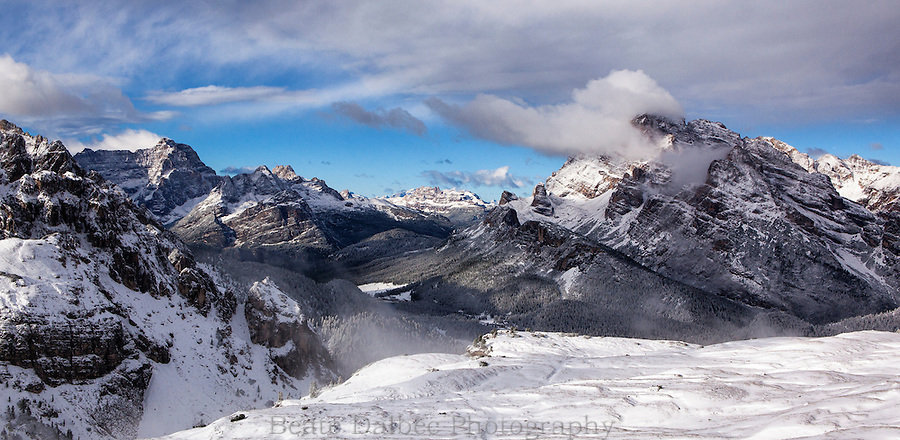 View from the Rifugio Auronzo after a snow storm