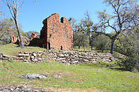 """Lost City is located in the California foothills in Calaveras County and was constructed in the late 1870's as an Icarian commune. It is speculated that the goal of the community was to, as its founder Etianne Cabet expressed, """"determine the best system of political happiness of the human race."""" By 1896 the settlement was abandoned and today only a few walls of the original dozen or more dry-laid fieldstone buildings remain. Photographed 03/08"""