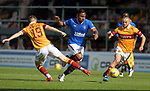 27.09.2020 Motherwell v Rangers:  Alfredo Morelos burst between Liam Polworth and Allan Campbell