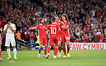 Cardiff - UK - 6th September :<br />Wales v Azerbaijan European Championship 2020 qualifier at Cardiff City Stadium.<br />Wales players celebrate Azerbaijan's first half own goal.<br /><br />Editorial use only