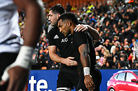 17th July 2021; Hamilton, New Zealand;  Luke Jacobson (L) celebrates with try scorer Sevu Reece. All Blacks versus Fiji, Steinlager Series, international rugby union test match. FMG Stadium Waikato, Hamilton, New Zealand.