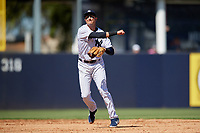 New York Yankees shortstop Troy Tulowitzki (12) throws to first base during a Grapefruit League Spring Training game against the Toronto Blue Jays on February 25, 2019 at George M. Steinbrenner Field in Tampa, Florida.  Yankees defeated the Blue Jays 3-0.  (Mike Janes/Four Seam Images)