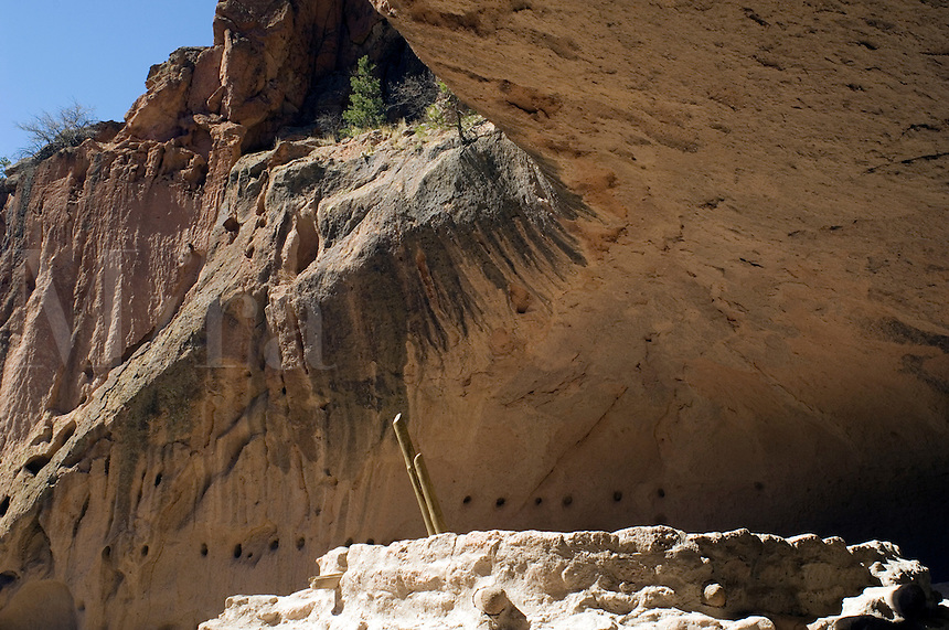 Alcove House (Ceremonial Cave) in  Frijoles Canyon at Bandelier National Monument, New Mexico.  Showing the archeological features left by the Ancestral Pueblo People (Anasazi).