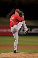 Los Angeles Angels relief pitcher Conor Lillis-White (75) during a Minor League Spring Training game against the Milwaukee Brewers at Tempe Diablo Stadium on March 29, 2018 in Tempe, Arizona. (Zachary Lucy/Four Seam Images)