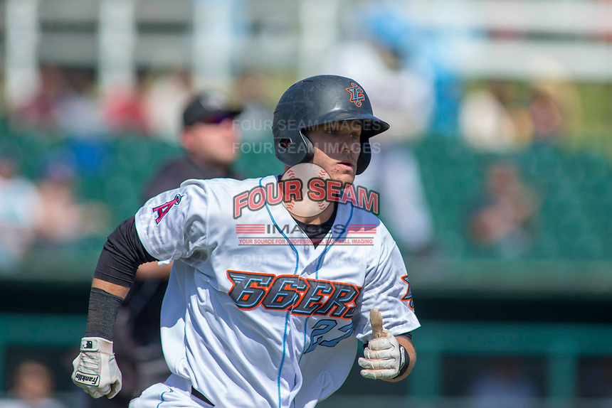 Inland Empire 66ers catcher Jack Kruger (27) hustles down the first base line against the Modesto Nuts at San Manuel Stadium on April 11, 2018 in San Bernardino, California.  The 66ers defeated the Nuts 7-0. (Donn Parris/Four Seam Images)