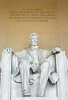 Lincoln statue in the Lincoln Memorial, Washington, DC
