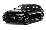 2021 BMW 3-Series-Touring-PHEV M-Sport 5 Door Wagon Angular Front automotive stock photos of front three quarter view