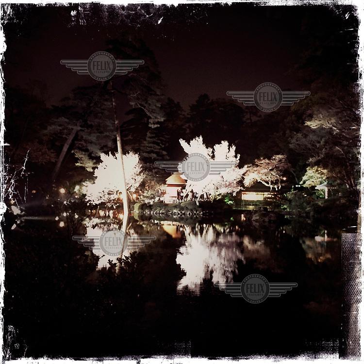 Trees in blossom in the Kenroku-en Garden at Kanazawa Castle Park.
