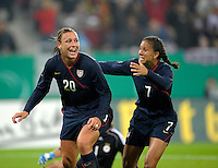 Abby Wambach (20) celebrates with Shannon Boxx (7). US Women's National Team defeated Germany 1-0 at Impuls Arena in Augsburg, Germany on October 27, 2009.