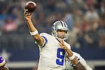 Dallas Cowboys quarterback Tony Romo (9) in action during the pre-season game between the Minnesota Vikings and the Dallas Cowboys at the AT & T stadium in Arlington, Texas. Minnesota defeats the Cowboys 28 to 14.