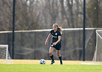 LOUISVILLE, KY - MARCH 13: Nealy Martin #36 of Racing Louisville FC moves the ball up the field during a game between West Virginia University and Racing Louisville FC at Thurman Hutchins Park on March 13, 2021 in Louisville, Kentucky.