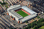 Aerial view of Anfield Park football stadium, home of Liverpool FC