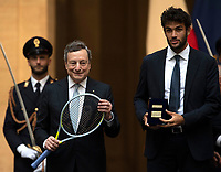 The Italian Premier Mario Draghi and the tennis player Matteo Berrettini during the official visit of the football Italy National team, after winning the UEFA Euro 2020 Championship.<br /> Rome (Italy), July 12th 2021<br /> Photo Pool Augusto Casasoli Insidefoto