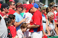 Philadelphia Phillies Pete Orr #5 signs autographs before a scrimmage vs the Florida State Seminoles  at Bright House Field in Clearwater, Florida;  February 24, 2011.  Philadelphia defeated Florida State 8-0.  Photo By Mike Janes/Four Seam Images
