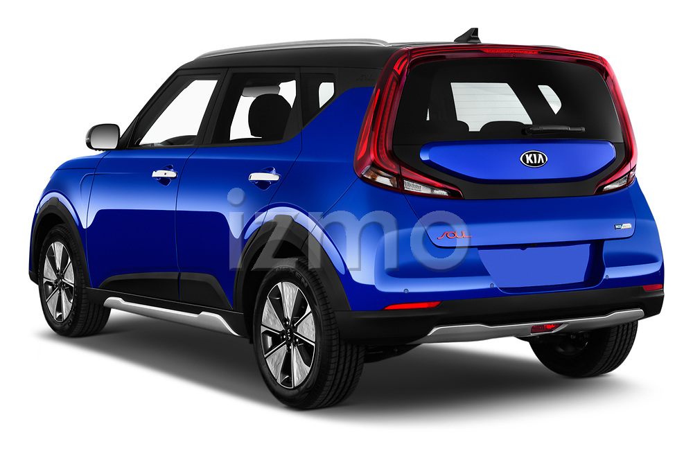 Car pictures of rear three quarter view of 2020 KIA e-Soul Premium 5 Door SUV Angular Rear