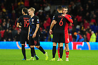 Dejan Lovren of Croatia and Gareth Bale of Wales shake hands at full time during the UEFA Euro 2020 Qualifier between Wales and Croatia at the Cardiff City Stadium in Cardiff, Wales, UK. Sunday 13 October 2019