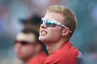 Austin Meadows (24) of the Indianapolis Indians during the game against the Charlotte Knights at BB&T BallPark on August 22, 2018 in Charlotte, North Carolina.  The Indians defeated the Knights 6-4 in 11 innings.  (Brian Westerholt/Four Seam Images)