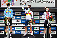 Picture by Alex Whitehead/SWpix.com - 27/09/2020 - Cycling - UCI 2020 Road World Championships IMOLA - EMILIA-ROMAGNA ITALY - Men Elite Road Race - Wout Van Aert of Belgium, Julian Alaphilippe of France and Marc Hirschi of Switerzland on the podium after the Men's Elite Road Race. - SANTINI