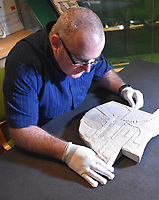 Pictured: Dr Ken Smith who made the discovery<br />Re: An Egyptian artwork that was kept in storage for over forty years has been identified as an extremely rare depiction of one of Egypt's few female pharaohs.<br />The relief sculpture was discovered at Swansea University's Egypt Centre during a student handling session.<br />It depicts Hatshepsut, one of just five women known to have ruled the empire.<br />It came to the city in 1971 as part of Sir Henry Wellcome's collection.<br />The discovery was made by Egyptology lecturer Dr Ken Griffin on International Women's Day.