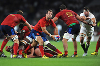 Morgan Parra of France passes to Francois Trinh-Duc of France (not pictured) - 15/08/2015 - Twickenham Stadium - London <br /> Mandatory Credit: Rob Munro/Stewart Communications