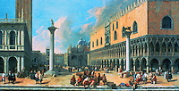 Venice:  The Piazetta at Venice by Luca Carlevaris (1663-1730) .  Before Canalotto, he specialized in Venetian scenes.  Timken Gallery, San Diego.  Reference only.