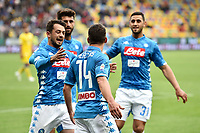 Dries Mertens of Napoli celebrates with team mates after scoring the goal of 0-1 during the Serie A 2018/2019 football match between Frosinone and SSC Napoli at stadio Benito Stirpe, Frosinone, April 28, 2019 <br /> Photo Andrea Staccioli / Insidefoto