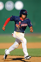 Lowell Spinners shortstop Mookie Betts #7 during a game versus the Tri_City Valley Cats at LeLacheur Park In Lowell, Massachusetts on July 1, 2012.   (Ken Babbitt/Four Seam Images)
