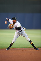 Bradenton Marauders shortstop Alfredo Reyes (13) throws to first base during the second game of a doubleheader against the Tampa Yankees on April 13, 2017 at George M. Steinbrenner Field in Tampa, Florida.  Tampa defeated Bradenton 2-1.  (Mike Janes/Four Seam Images)