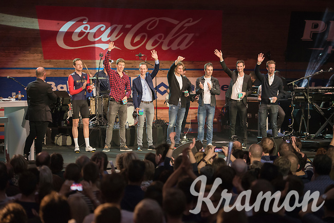 colleagues waving goodbye to the fans at 'Ciao Fabian': a farewell event in 't Kuipke in Gent/Belgium for Fabian Cancellara after him retiring from pro racing (november 2016)<br /> <br /> fltr: Sir Bradley Wiggins (GBR/Wiggins), Sep Vanmarcke (BEL/LottoNL-Jumbo), Edward Theuns (BEL/Trek-Segafredo), Filippo 'Pipo' Pozzato (ITA/Wilier Triestina–Southeast), Markel Irizar (ESP/Trek-Segafredo), Fränk Schleck (LUX/Trek-Segafredo) & Iljo Keisse (BEL/Etixx-QuickStep)