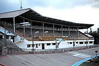 The main grandstand at Millenaris Sporttelep in Budapest. Opened in 1896, the stadium has been used for cycling events and football matches.
