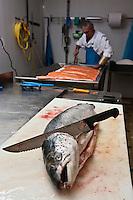 Europe/France/Aquitaine/64/Pyrénées-Atlantiques/Béarn/Pau: chez Jean-Marc Casteigt, fumeur de saumon, Maître Artisan Saurisseur -Découpe des saumons -<br /> Jean-Marc Casteigt, ne travaille que des saumons frais de grosses tailles provenant des meilleures fermes d'Ecosse et de Norvège.