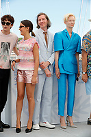"""CANNES, FRANCE - JULY 13: French-Us actor Timothee Chalamet, French-Algerian actress Lyna Khoudri, Us director Wes Anderson, British actress Tilda Swinton at photocall for the film """"The French Dispatch"""" at the 74th annual Cannes Film Festival in Cannes, France on July 13, 2021 <br /> CAP/GOL<br /> ©GOL/Capital Pictures"""