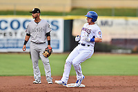 Tennessee Smokies designated hitter Ian Happ (1) pulls up at second during a game against the Jackson Generals at Smokies Stadium on July 5, 2016 in Kodak, Tennessee. The Generals defeated the Smokies 6-4. (Tony Farlow/Four Seam Images)