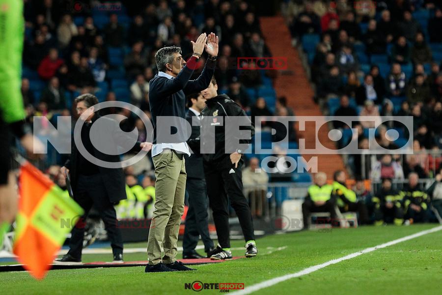 Real Sociedad's coach Asier Garitano during La Liga match between Real Madrid and Real Sociedad at Santiago Bernabeu Stadium in Madrid, Spain. January 06, 2019. (ALTERPHOTOS/A. Perez Meca)<br />  (ALTERPHOTOS/A. Perez Meca) /NortePhoto.com