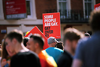 """A placard with the message """"Some People Are Gay, get Over It""""  in this year's Pride Parade in the centre of Cardiff, Wales, UK. Sayurday 26 August 2017"""