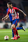 Victor Machin, Vitolo (R), of Atletico de Madrid battles for the ball with Jan Gregus of FC Copenhague during the UEFA Europa League 2017-18 Round of 32 (2nd leg) match between Atletico de Madrid and FC Copenhague at Wanda Metropolitano  on February 22 2018 in Madrid, Spain. Photo by Diego Souto / Power Sport Images