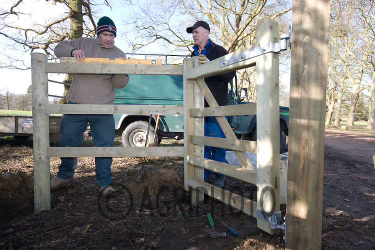 Countryside Services Workers From Lincolnshire County Council Erect a Kissing Gate.