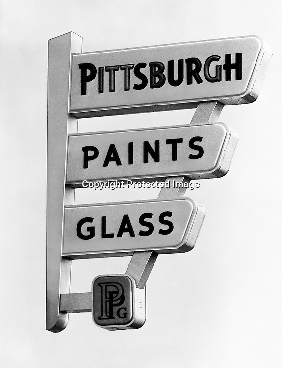 Client: Pittsburgh Plate Glass Company<br /> Ad Agency: W. Craig Chambers<br /> Contact:<br /> Product: Pittsburgh Paints Glass Sign<br /> Location:  Studio photography at Brady Stewart Studio, 812 Market St in Pittsburgh.<br /> <br /> Created a negative of the sign, took out the background so it could be used in an advertisement.