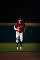 Billings Mustangs left fielder Cash Case (9) jogs off the field between innings of a Pioneer League game against the Grand Junction Rockies at Dehler Park on August 15, 2019 in Billings, Montana. Billings defeated Grand Junction 11-2. (Zachary Lucy/Four Seam Images)