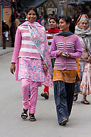 India, Rishikesh.  Young Indian Women in Contemporary Dress.