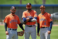 Houston Astros Ronaldo Urdaneta (28), Carlos Machado (1), and Deury Carrasco (8) before a Minor League Spring Training Intrasquad game on March 28, 2019 at the FITTEAM Ballpark of the Palm Beaches in West Palm Beach, Florida.  (Mike Janes/Four Seam Images)