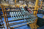 Forks lined up for assembly in the Bianchi Factory, Treviglio, Italy. 30th September 2015.<br /> Picture: Eoin Clarke | Newsfile
