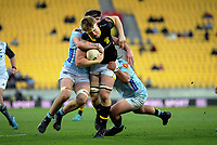 James Blackwell is wrapped up during the Mitre 10 Cup rugby match between Wellington Lions and Northland Taniwha at Westpac Stadium in Wellington, New Zealand on Saturday, 28 September 2019. Photo: Dave Lintott / lintottphoto.co.nz